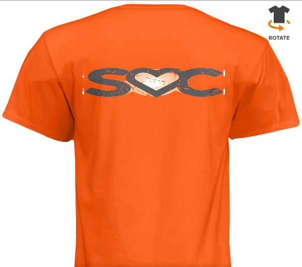 Back of Orange SocialSavvi T-Shirt Favicon