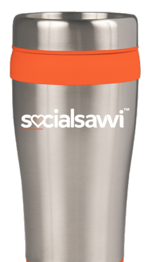 Front of Insulated socialsavvi coffee travel mug
