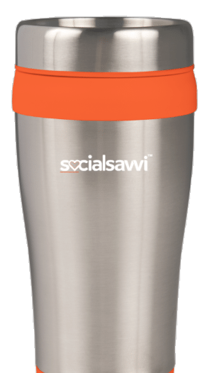 Back of Insulated socialsavvi coffee travel mug