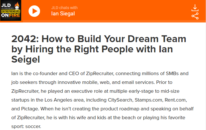 How to Build Your Dream Team by Hiring the Right People with Ian Seigel