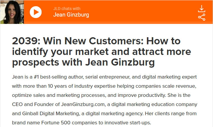 Win New Customers: How to identify your market and attract more prospects with Jean Ginzburg
