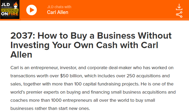 How to Buy a Business Without Investing Your Own Cash with Carl Allen